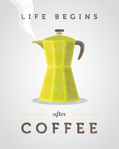 Life begins after coffee print. Chartreuse green kitchen print - Latte Design  - 3