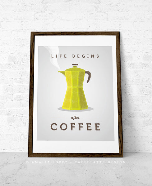Life begins after coffee print. Chartreuse green kitchen print - Latte Design  - 1