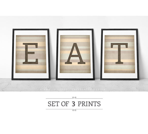 EAT. Set of 3 black and white kitchen prints. - Latte Design  - 4