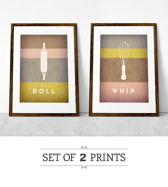 Set of 2 PRINTS. Pink & brown kitchen prints - Latte Design  - 1