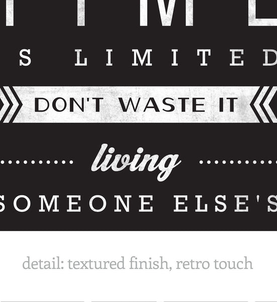 Your time is limited... Steve Jobs quote. Black and white motivational print - Latte Design  - 4