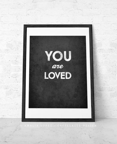 You are loved. Gray love print - Latte Design  - 1