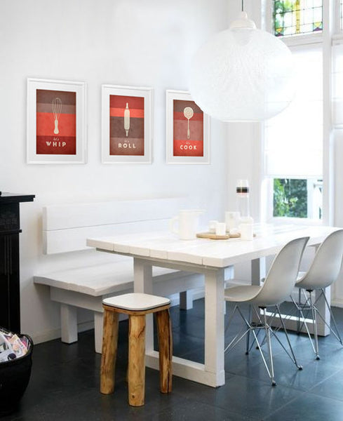 Set of 3 PRINTS. Red kitchen prints - Latte Design  - 2