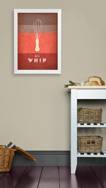 Let's whip. Red kitchen print - Latte Design  - 2
