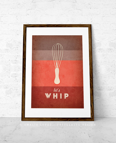 Let's whip. Red kitchen print - Latte Design  - 1