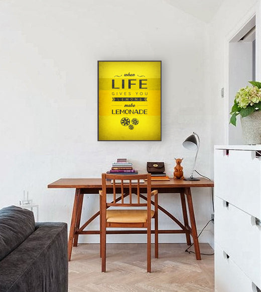When life gives you lemons Motivational wall art Yellow print Motivational poster Inspirational quote print Yellow Kitchen art Quote print - Latte Design  - 2