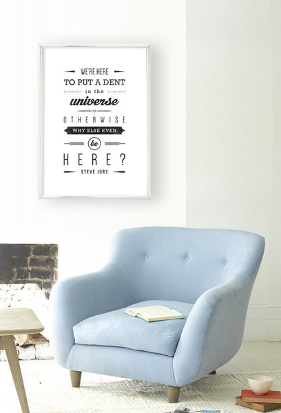 Steve Jobs quote print graduation gift for him Steve Jobs print Typographical print Inspirational art retro print We're here to put a dent - Latte Design  - 2
