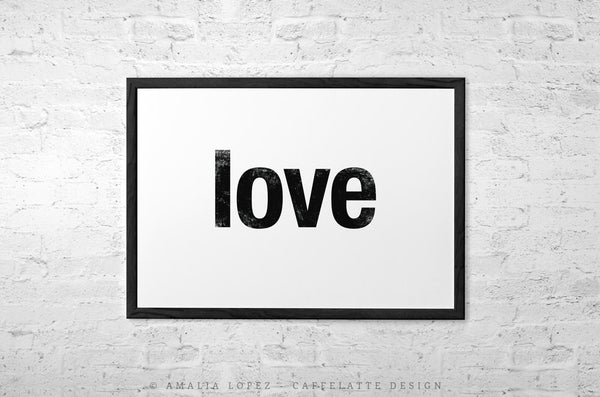 Love print. Black typography print - Latte Design  - 4