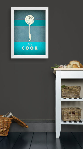 Teal Kitchen print Teal Kitchen art Turquoise kitchen poster Typography poster Turquoise print turquoise aqua - Let's cook - Latte Design  - 2