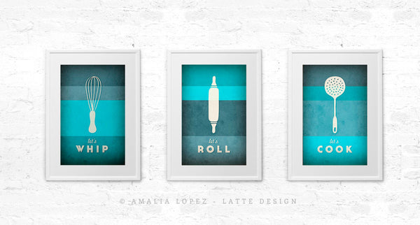 Teal Kitchen print Teal Kitchen art Turquoise kitchen poster Typography poster Turquoise print turquoise aqua - Let's cook - Latte Design  - 4