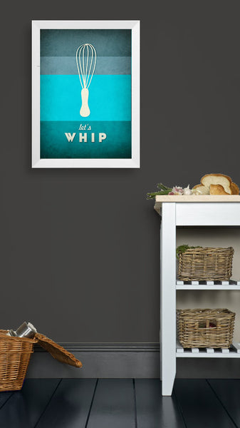 Let's whip. Teal kitchen print - Latte Design  - 2