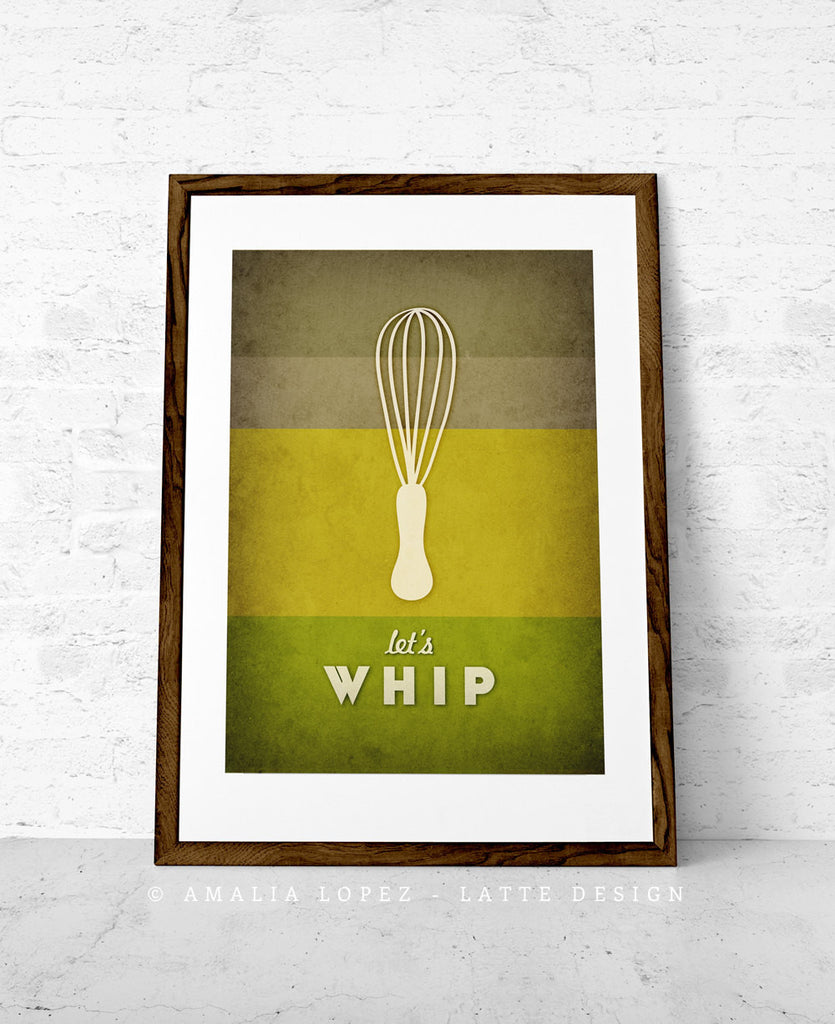 Let's whip. Green kitchen print - Latte Design  - 1