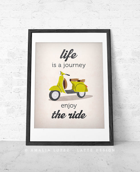 Life is journey enjoy the ride Quote poster print Green vespa scooter print bike poster retro print quote wall decor Graduation gift - Latte Design  - 3