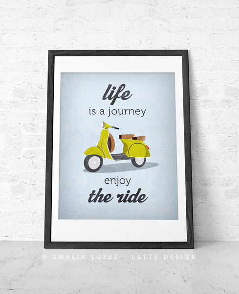 Life is journey enjoy the ride Quote poster print Green vespa scooter print bike poster retro print quote wall decor Graduation gift - Latte Design  - 5