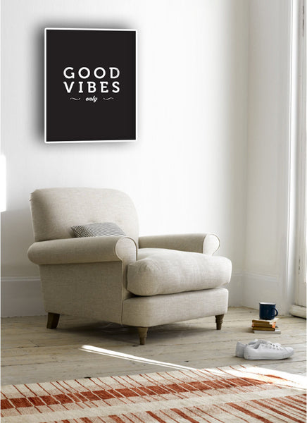 Good vibes only print. Black and white typography print - Latte Design  - 3