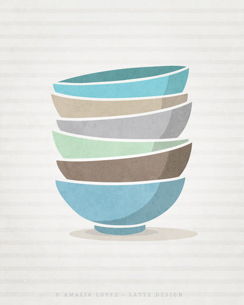 Stacked bowls print. Blue Kitchen print - Latte Design  - 2