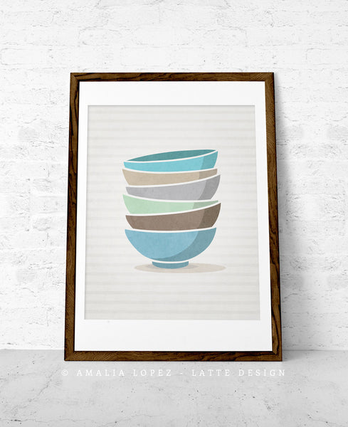 Stacked bowls print. Blue Kitchen print - Latte Design  - 1