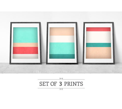 Stripes 3. Set of 3 prints - Latte Design  - 1