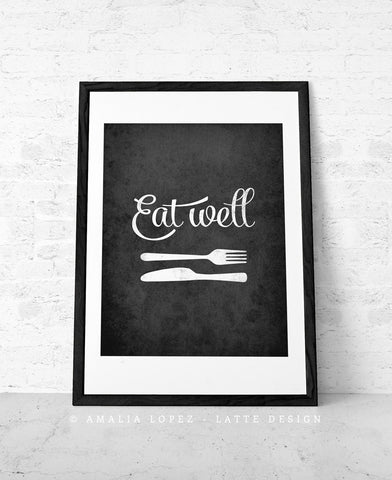 Mothers day Eat well Kitchen print kitchen wall art Kitchen decor kitchen poster Eat well print Black and white print Mothers day gift. UK - Latte Design  - 1