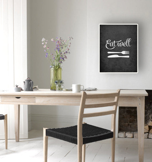 Mothers day Eat well Kitchen print kitchen wall art Kitchen decor kitchen poster Eat well print Black and white print Mothers day gift. UK - Latte Design  - 3