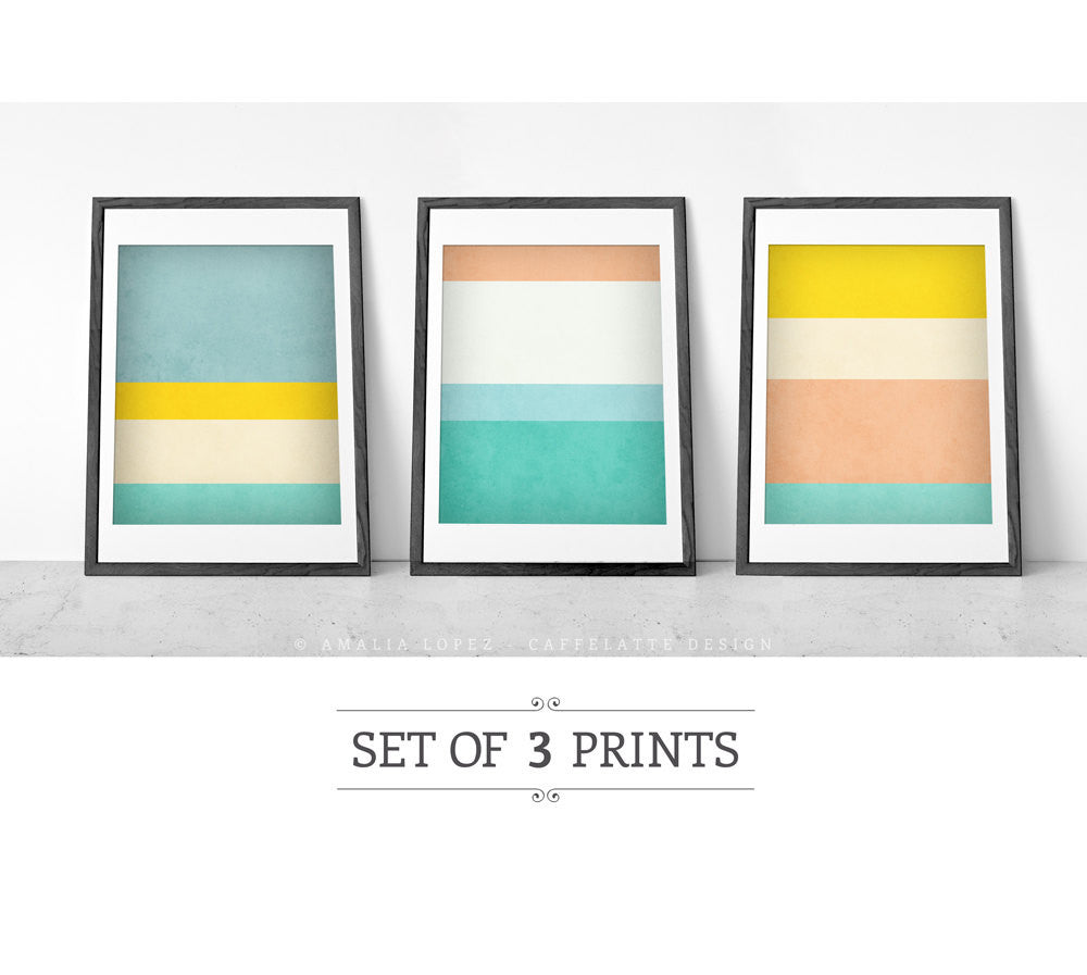 Stripes 1. Set of 3 PRINTS. Stripes wall art - Latte Design  - 1