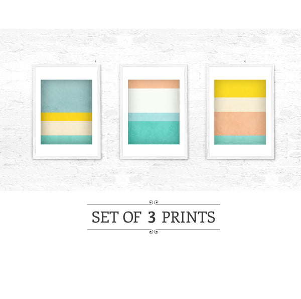 Stripes 1. Set of 3 PRINTS. Stripes wall art - Latte Design  - 2