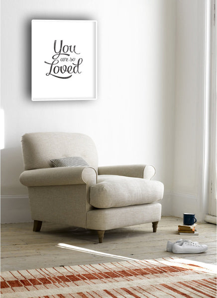 You are so loved print. Black and white love print - Latte Design  - 4