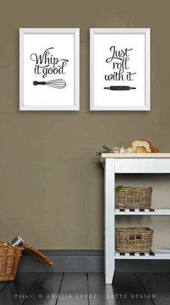 Set of TWO black and white kitchen prints: Just roll with it & Whip it good - Latte Design  - 3