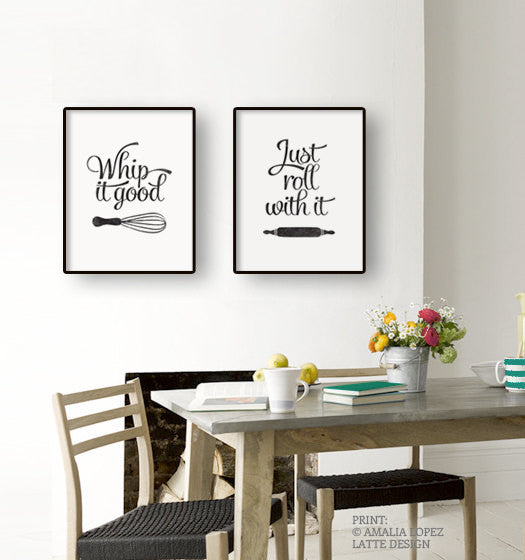 Set of TWO red kitchen prints: Just roll with it & Whip it good - Latte Design  - 2