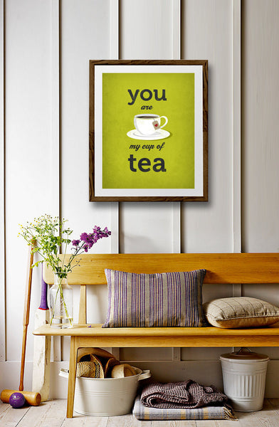You are my cup of tea Love print Green Tea print Tea poster Green kitchen print Green kitchen decor Love poster lattedesign Latte Design - Latte Design  - 4