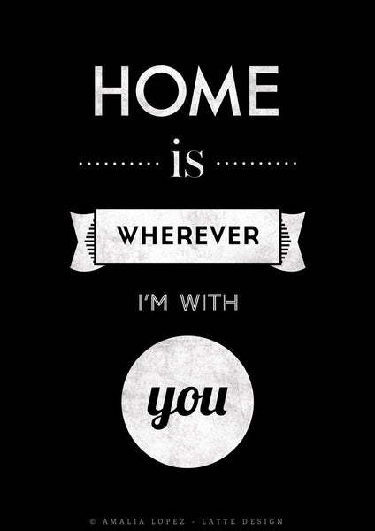 Love print. Quote print. Typography poster. Typographic print Inspirational print Blue print. Home is wherever I'm with you. Latte Design UK - Latte Design  - 7