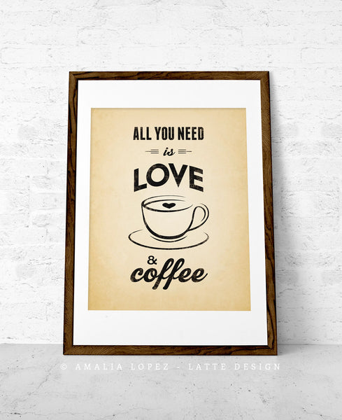 All you need is love and coffee. Black and white Coffee print love print - Latte Design  - 5