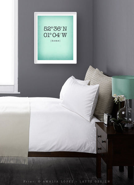 Mint Custom Latitude and Longitude print - Latte Design  - 4