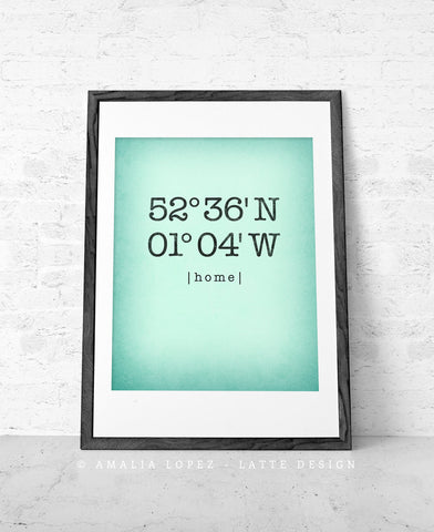 Mint Custom Latitude and Longitude print - Latte Design  - 1