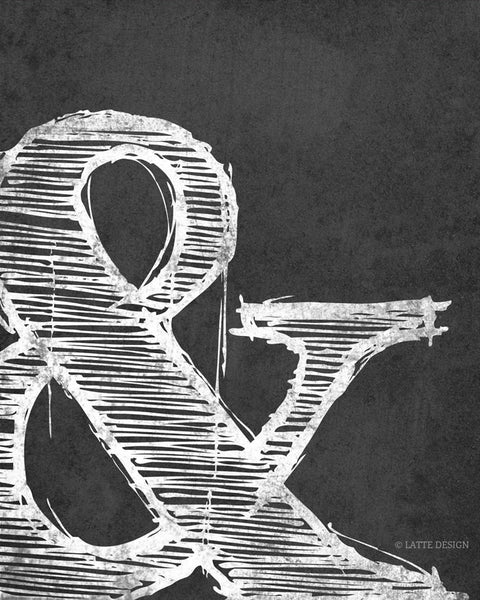 Ampersand print. Black and white typography print - Latte Design  - 5