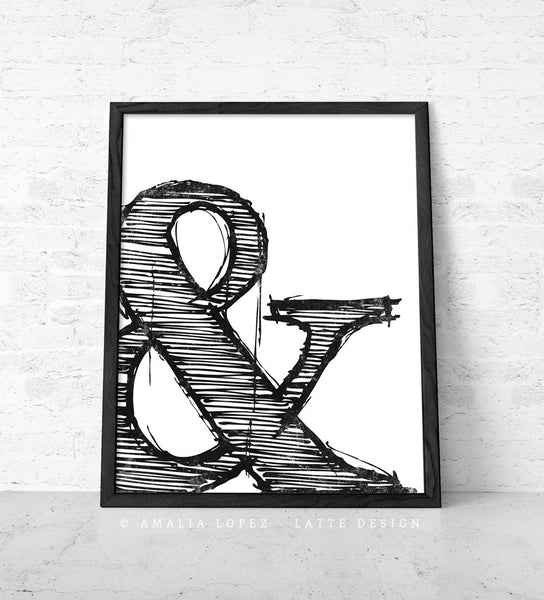Ampersand print. Black and white typography print - Latte Design  - 1