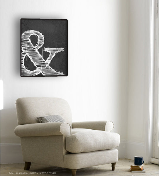 Ampersand print. Black and white typography print - Latte Design  - 4