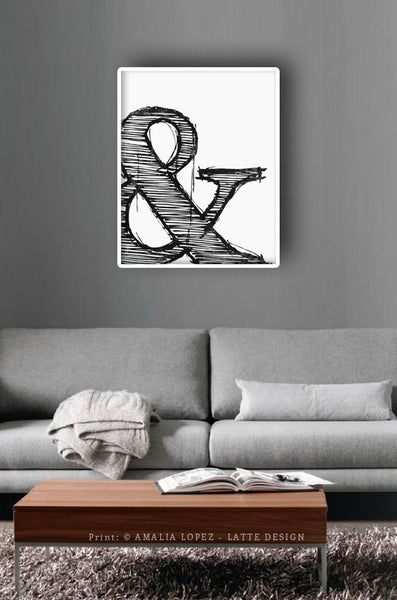 Ampersand print. Black and white typography print - Latte Design  - 2