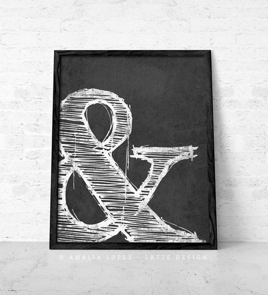 Ampersand print. Black and white typography print - Latte Design  - 3