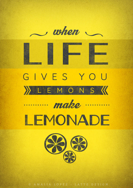 When life gives you lemons Motivational wall art Yellow print Motivational poster Inspirational quote print Yellow Kitchen art Quote print - Latte Design  - 3