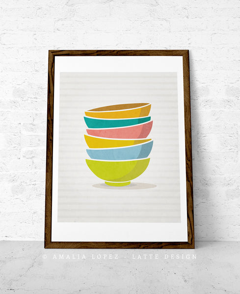 Stacked bowls print. Blue Kitchen print - Latte Design  - 4