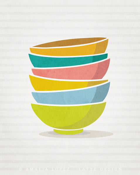 Stacked bowls print. Blue Kitchen print - Latte Design  - 5