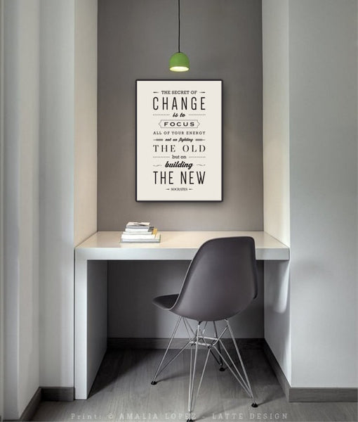 The secret of change ... Socrates quote print. Black and white motivational print. LH10008 - Latte Design  - 4