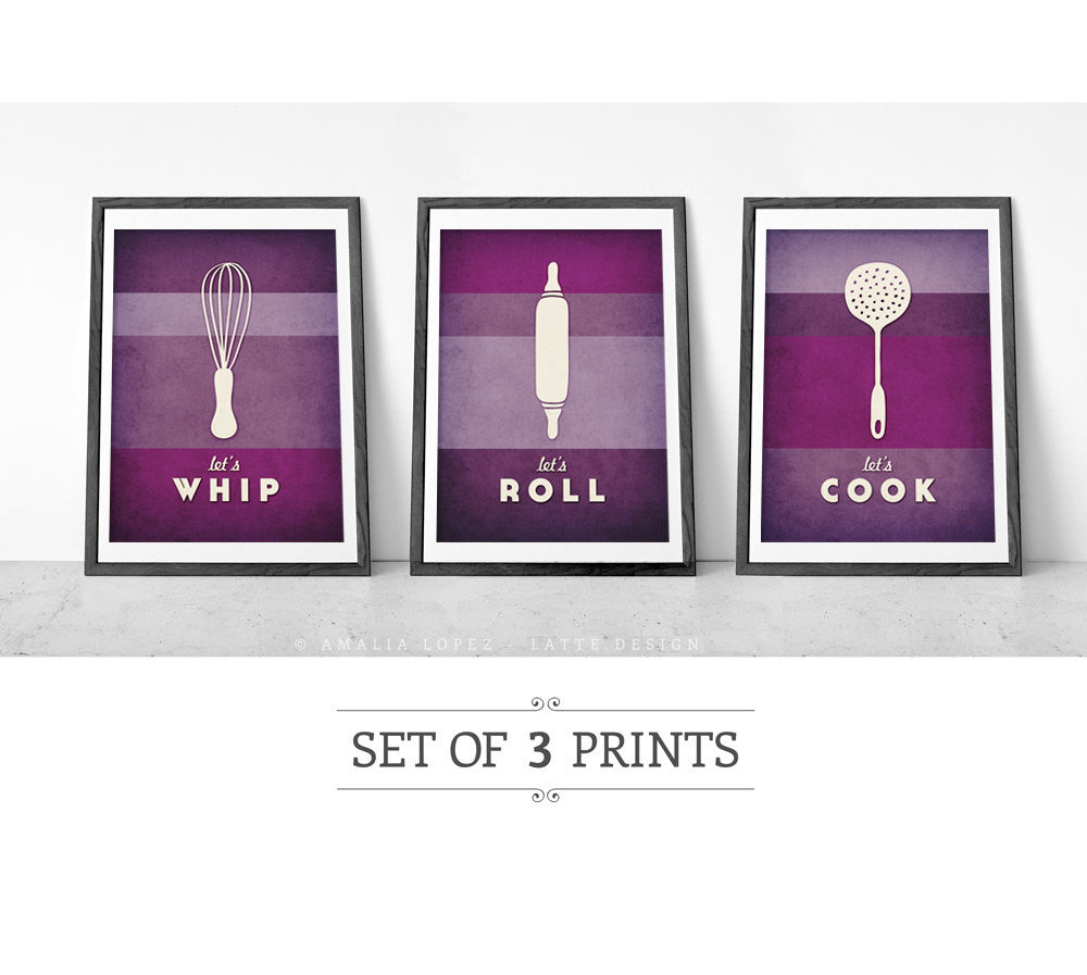 Set of 3 PRINTS. Purple kitchen prints - Latte Design  - 1