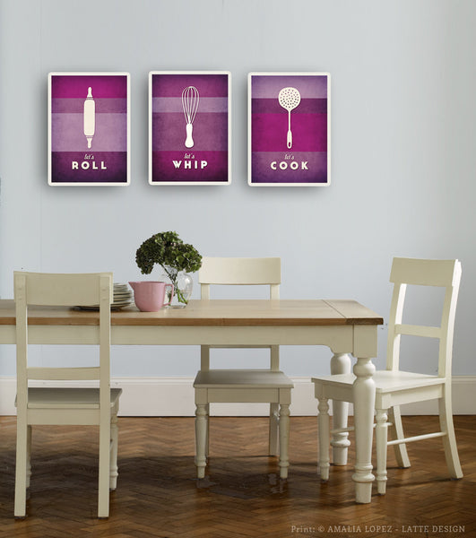Set of 3 PRINTS. Purple kitchen prints - Latte Design  - 2