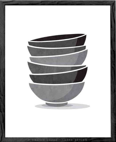 Stacked bowls Kitchen print print grey Kitchen decor grey Kitchen wall art grey Kitchen art Stack of bowls Kitchen poster gray Kitchen decor - Latte Design  - 4