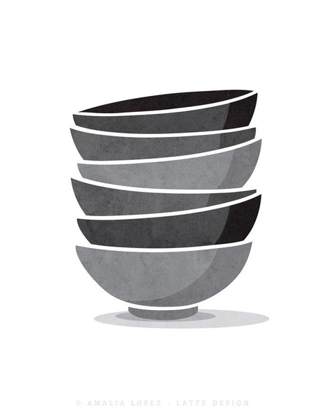 Stacked bowls Kitchen print print grey Kitchen decor grey Kitchen wall art grey Kitchen art Stack of bowls Kitchen poster gray Kitchen decor - Latte Design  - 5
