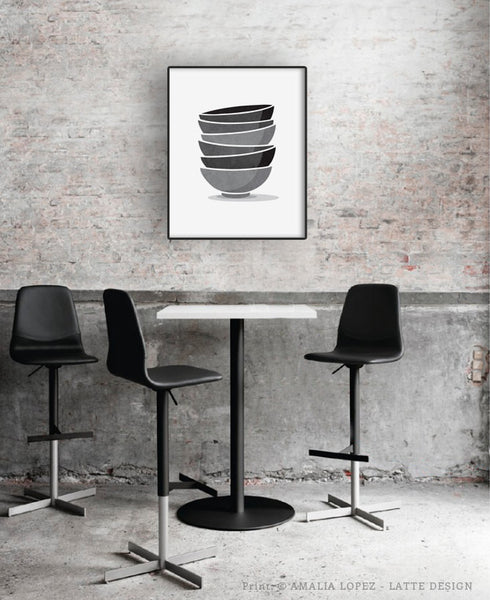 Stacked bowls Kitchen print print grey Kitchen decor grey Kitchen wall art grey Kitchen art Stack of bowls Kitchen poster gray Kitchen decor - Latte Design  - 2