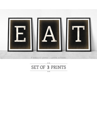 EAT. Set of 3 black and white kitchen prints. - Latte Design  - 1
