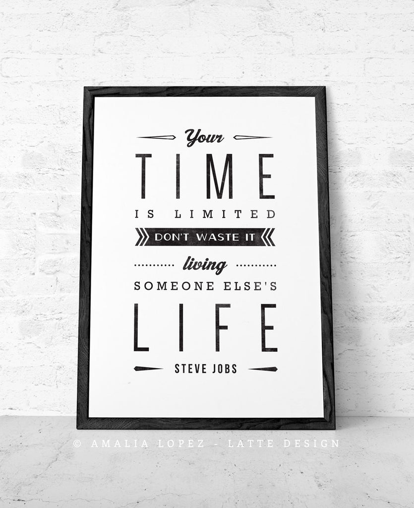 Steve jobs quote black and white motivational print